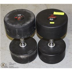 PAIR OF COMMERCIAL GRADE DUMBBELLS 80LBS