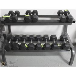 YORK DUMBELL STAND WITH CONTENTS