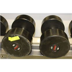 PAIR OF COMMERCIAL DUMBELLS 90LBS