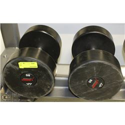 PAIR OF COMMERCIAL DUMBELLS 80LBS