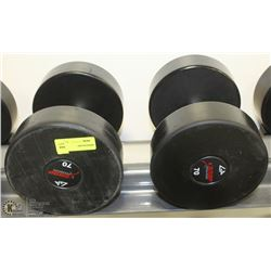 PAIR OF COMMERCIAL DUMBELLS 70LBS