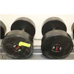 PAIR OF COMMERCIAL DUMBELLS 65LBS