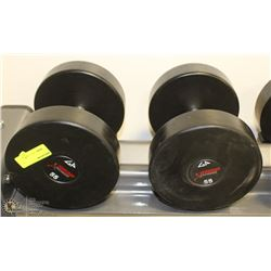 PAIR OF COMMERCIAL DUMBELLS 55LBS