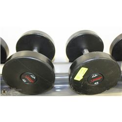 PAIR OF COMMERCIAL DUMBELLS 45LBS