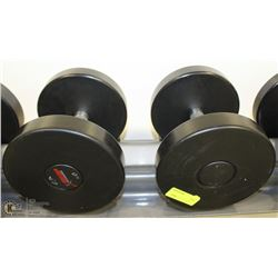 PAIR OF COMMERCIAL DUMBELLS 40LBS