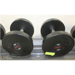 PAIR OF COMMERCIAL DUMBELLS 35LBS