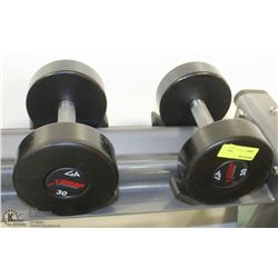 PAIR OF COMMERCIAL DUMBELLS 30LBS
