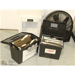 TWO TOOL BOXES , DEFIBRILLATOR CASE AND FLOOR FAN