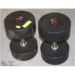 PAIR OF COMMERCIAL GRADE DUMBELLS 65LBS