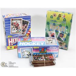 3 ASSORTED HOCKEY CARD BOXES AND BUNDLE OF 10