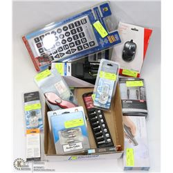 FLAT OF ASSORTED ELECTRONICS AND TOOLS