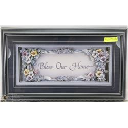 "WOOD FRAMED ""BLESS OUR HOME"" PAPER"