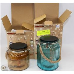 2PK MASON JAR L.E.D PATIO LITES