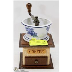 PORCELAIN HAND CRANK COFFEE GRINDER