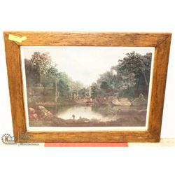 ANTIQUE HANDMADE WOOD FRAMED PICTURE WITH