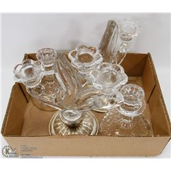 BOX OF GLASS CANDLES AND CANDELABRA