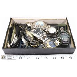 BOX OF ASSORTED WATCHES - NEEDS BATTERIES
