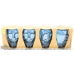 4 NEW SKULL GLASSES SET IN BOX, MADE FROM