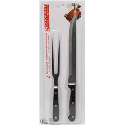 "NEW 2PCS CARVING SET (8"" KNIFE AND 6"" FORK)"