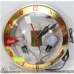 WORKING VINTAGE BAR CLOCK WITH LIGHT