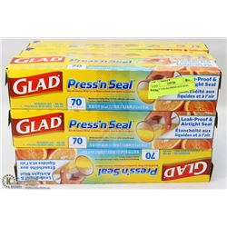 LOT OF 9 GLAD PRESS AND SEAL WRAP