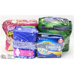 LOT OF ASSORTED FEMININE HYGIENE, HUGGIE PULLUPS &