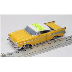 1957 CHEVY BELAIR YELLOW & WHITE DIECAST.