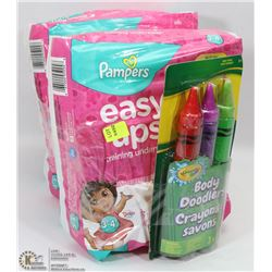 2 PACKS OF PAMPERS EASY UPS SIZE 3-4 SOLD WITH