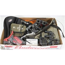 FLAT OF BIKE PARTS - TOOL KIT, FIRST AID KIT,