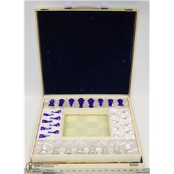 CRYSTAL & MIRROR CHEST BOARD CHESS SET.
