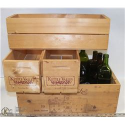 "4 WOODEN WINE BOXES INCL. WINE AND ""DRIED FRUIT"""