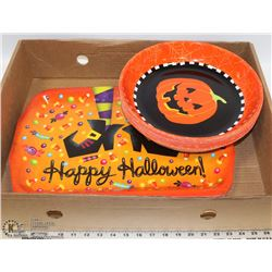 BOX OF NEW HALLOWEEN TRAYS INCL 10 ROUND AND