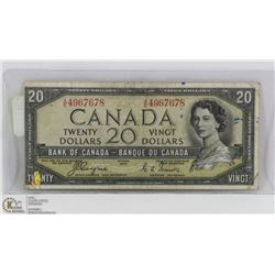 1954 CANADIAN $20 DEVILS FACE BILL.