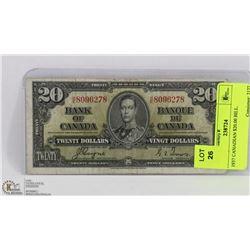 1937 CANADIAN $20.00 BILL.