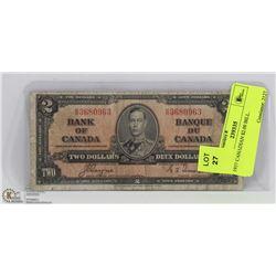 1937 CANADIAN $2.00 BILL.
