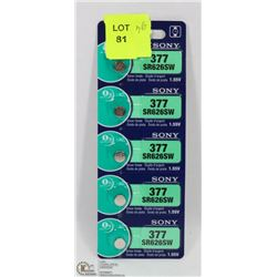 PACK OF 5 NEW SONY 377 SR626SW WATCH BATTERIES