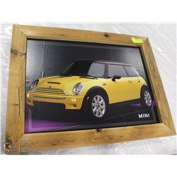 MINI COOPER CAR FRAMED PICTURE 28X22