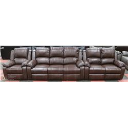 "NEW MUNICH BROWN LEATHERETTE RECLINING 75"" SOFA,"