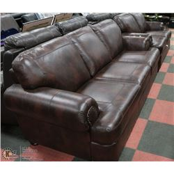 "NEW WINE LEATHERETTE NAILHEAD 84"" SOFA WITH 60"""