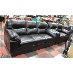PLUSH BLACK LEATHERETTE SOFA WITH LOVESEAT