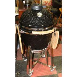 "NEW BLACK 21.5"" KAMADO BBQ GRILL CERAMIC COOKER,"