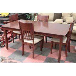 ESTATE SOLID BROWN WOOD TABLE W/LEAF &