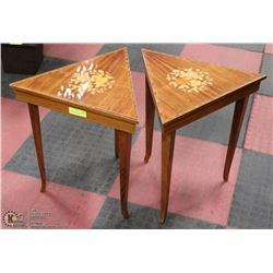 2 VINTAGE TRIANGLE SHAPED END TABLES WITH OPENING