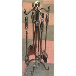 5 PC WROUGHT IRON FIRE PLACE PEWTER SET