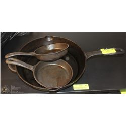 """3 CAST IRON SKILLETS INCL. 12"""" AND 2-6.5"""""""