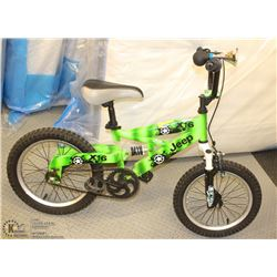 "CHILDS BIKE 12"" WHEELS X 16 DUAL SUSPENSION, GREEN"
