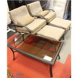 """SET OF 2 PATIO 28""""W SWIVEL CHAIRS WITH CUSHIONS &"""