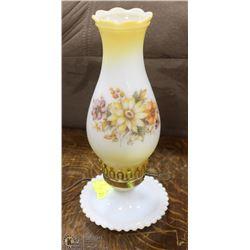 VINTAGE FLORAL MILK GLASS LAMP (WORKING)