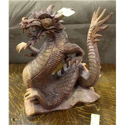 LARGE HAND CARVED WOODEN DRAGON