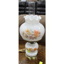 VINTAGE ROUND MILK GLASS LAMP (WORKING)